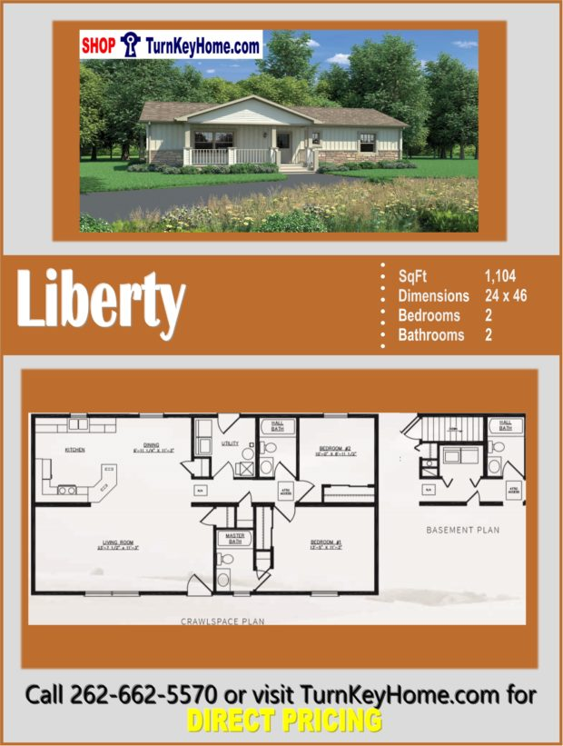 LIBERTY Ranch Style Home 2 Bed 2 Bath Plan 1104 SF Priced