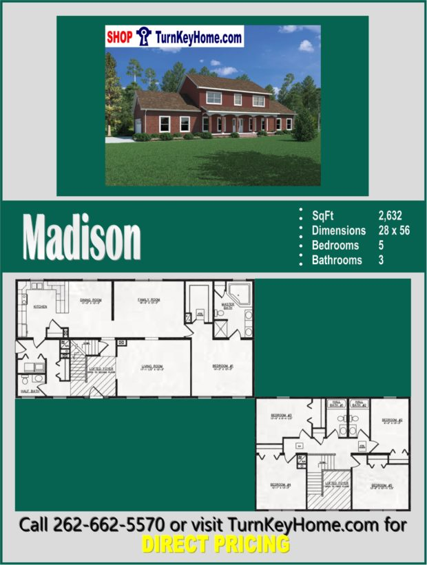 MADISON Two Story Home 5 Bed 3 5 Bath Plan 2632 SF Priced