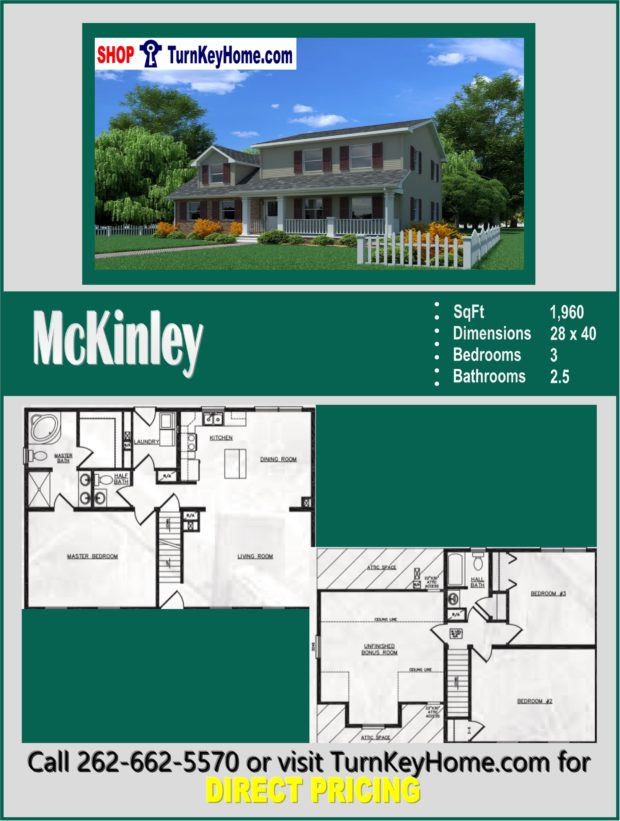 McKinley Two Story Home 3 Bed 2 5 Bath Plan 1960 SF Priced