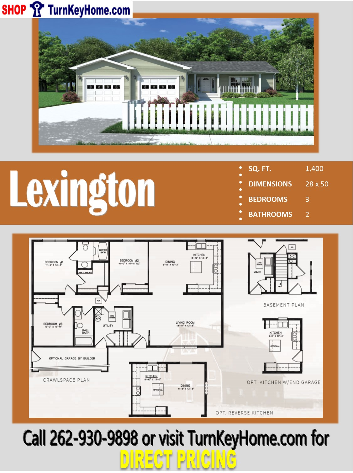 Lexington ranch style home 3 bed 2 bath plan 1400 sf for Direct from the designers house plans