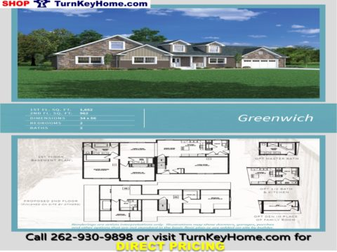GREENWICH Cape Cod Style Home 2 Bed 2 Bath Plan 2614 SF Priced From  Heckaman Homes Modular Plan Designs LIST: 211,342 DIRECT: 172,916 SAVE:  38,426