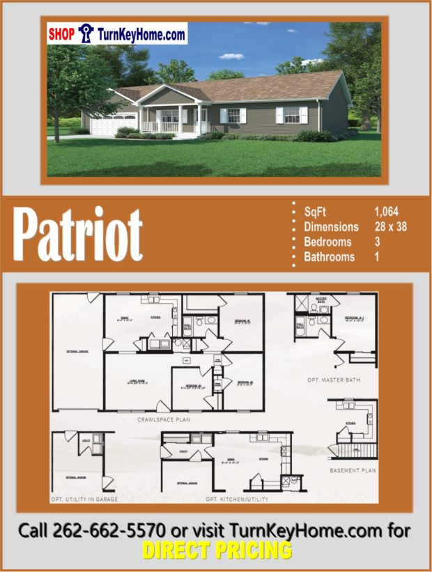 PATRIOT Ranch Style Home 3 Bed 1 Bath Plan 1064 SF Priced