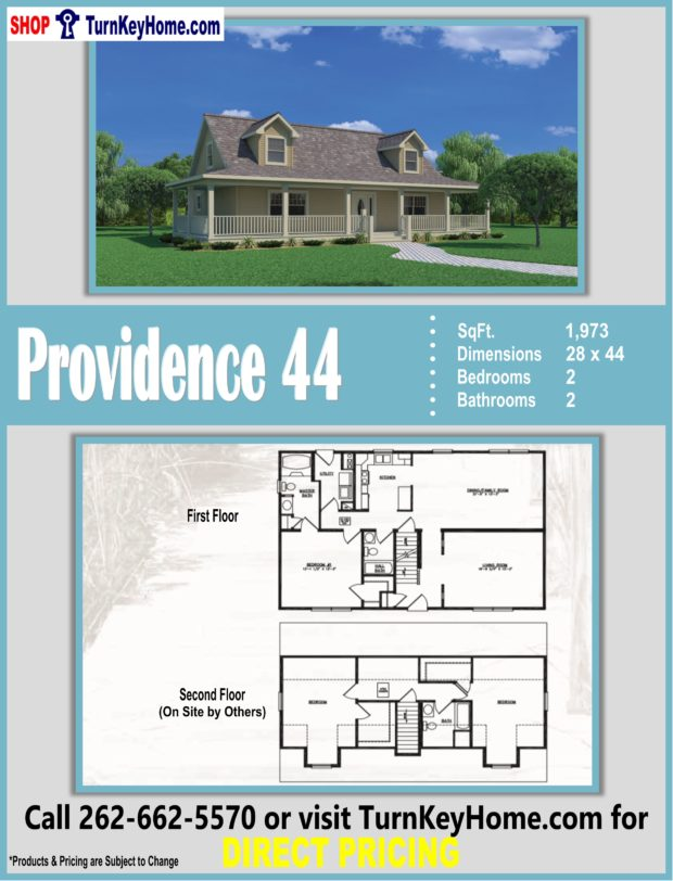 PROVIDENCE 44 Cape Cod Style Home 1 Bed 2 Bath Plan 1973 SF