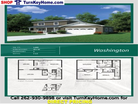WASHINGTON Two Story Home 3 Bed 2.5 Bath Plan 1680 SF Priced From Heckaman Homes  Modular Plan Designs LIST: 127,512 DIRECT: 104,328 SAVE: 23,184