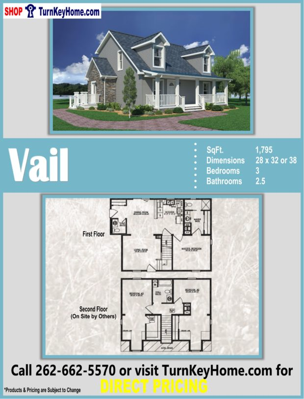 VAIL Cape Cod Style Home 3 Bed 2 5 Bath Plan 1795 SF Priced