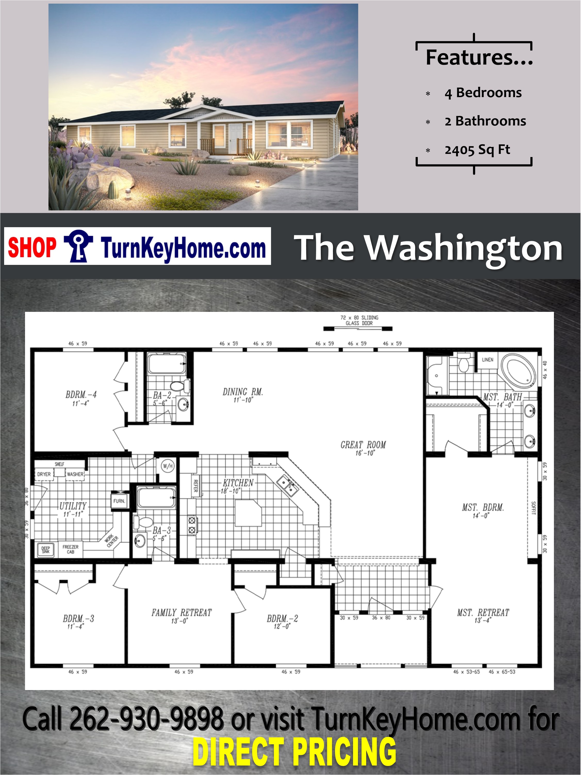 The washington home 4 bed 3 bath plan 2405 sf priced from for Direct from the designers house plans